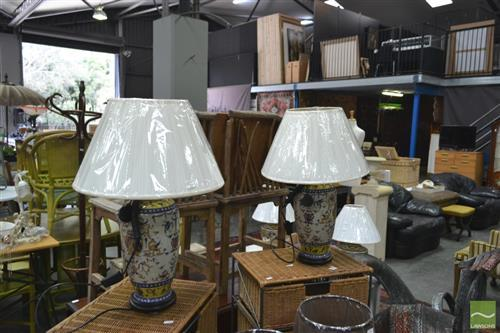Pair of French Hand Painted Lamps (4026)