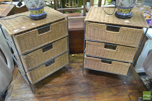 Pair of 3 Drawer Wicker Bedsides