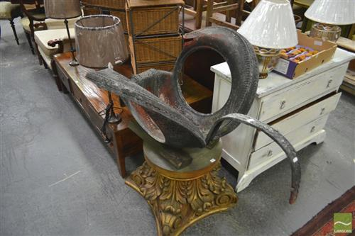 Vintage Black Tyre Swan