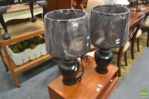 Pair of Italian Lamps w Leatherette Finish (2600)