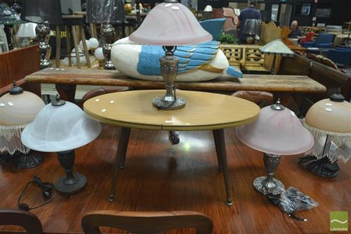 Collection of 5 Glass Table Lamps