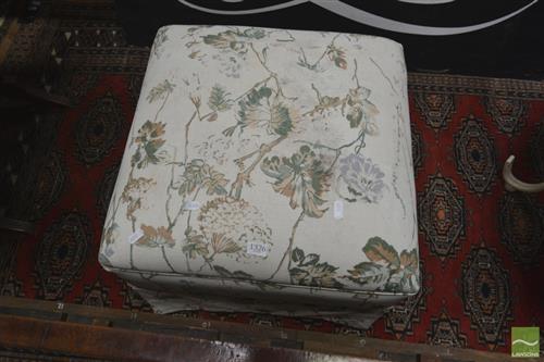 Floral Upholstered Footstool