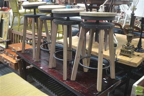 Set of Four Adjustable Swivel Stools with Timber Legs
