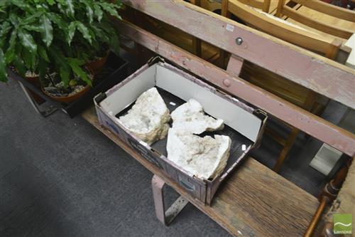 3 Quartz Geode Pieces With Selenite