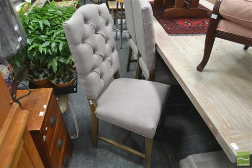 Set of Six Beige Upholstered Dining Chairs