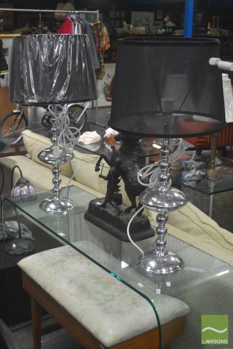Pair of Aluminium Table Lamps (5793)