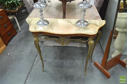 Brass Consol Table with Mirror