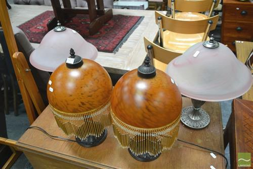 2 Pairs of Glass Shade Table Lamps