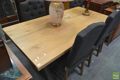 Oak Top Table on Metal Legs (180 x 90cm)