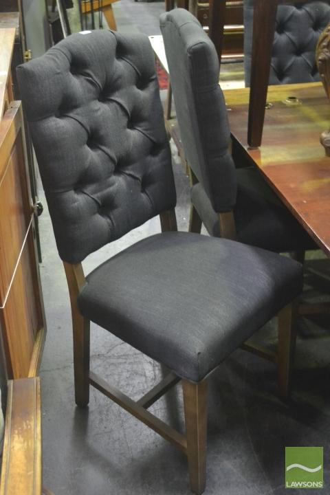 Set of Six Charcoal Upholstered Dining Chairs