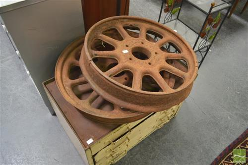 Pair of Vintage Metal Wheels