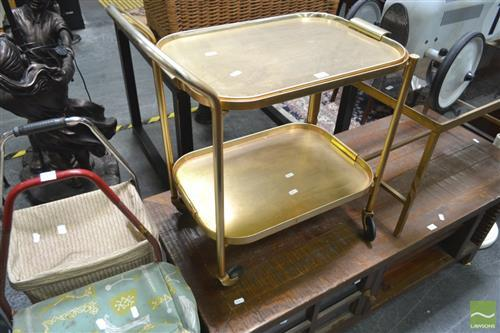 Serving Trolley w Metal Framed Occasional Table