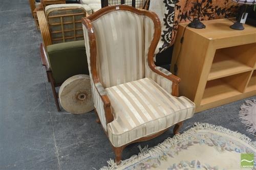 Wingback Armchair w Striped Back
