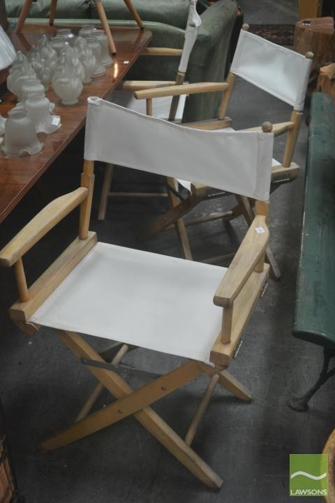 Set of 6 Folding Deck Chairs w Canvas Seats