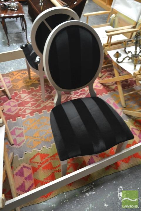 Pair Of Balloon Back Chairs In Black upholstery