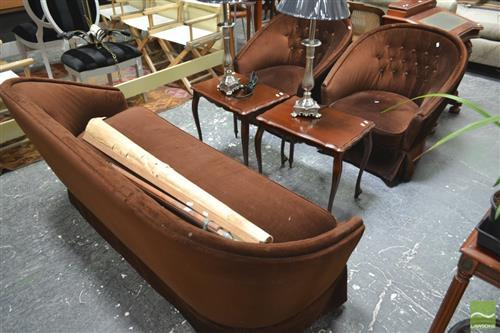 Brown Buttonback Lounge Setting inc 3 Seater & 2 Chairs