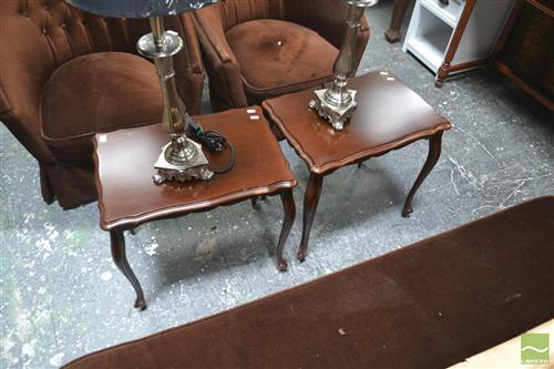 Pair of Shield Shaped Side Tables on Cabriole Legs