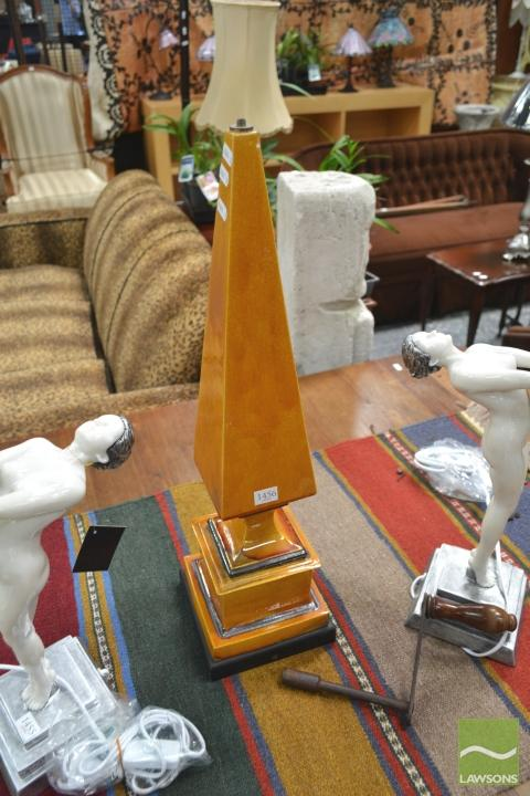 Orange Crackle Glazed Spire Form Lamp Base