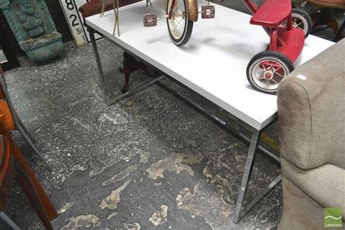 Modern White Dining Table over Chrome Legs