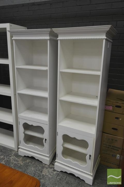 Pair of Painted Slim Bookcases