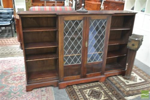 Dwarf Bookcase with Leadlight Panel Doors