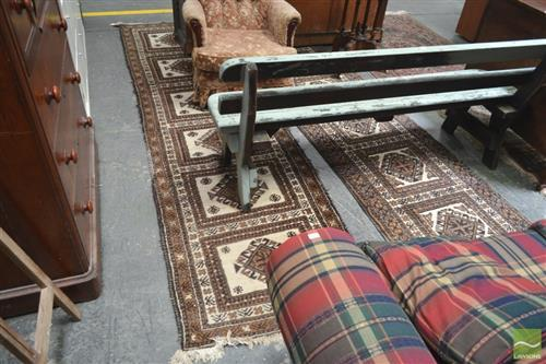Pair of Brown Tone Woollen Runner (88x350)