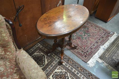 Victorian Inlayed Loo Table (damage to top)
