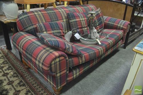 Tartan Upholstered Two and Half Seater Sofa raised on Timber Base