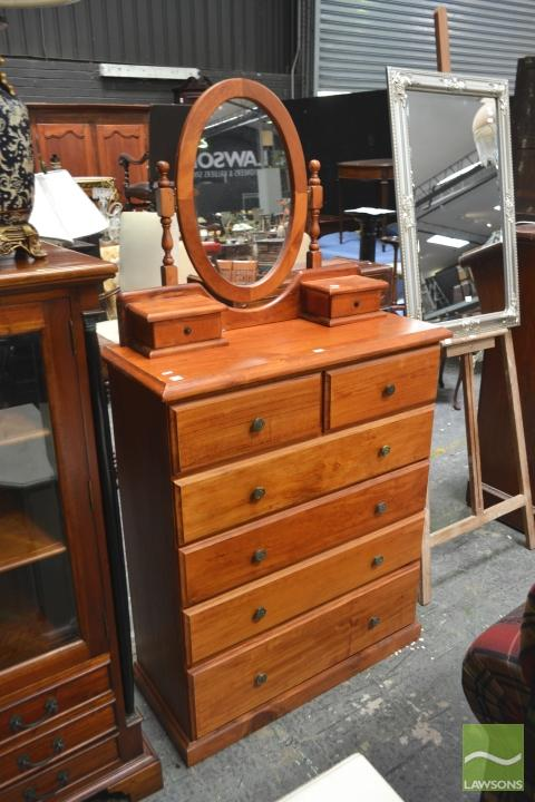 Timber Chest of Six Drawers with Dresser Mirror & Three Drawer Bedside