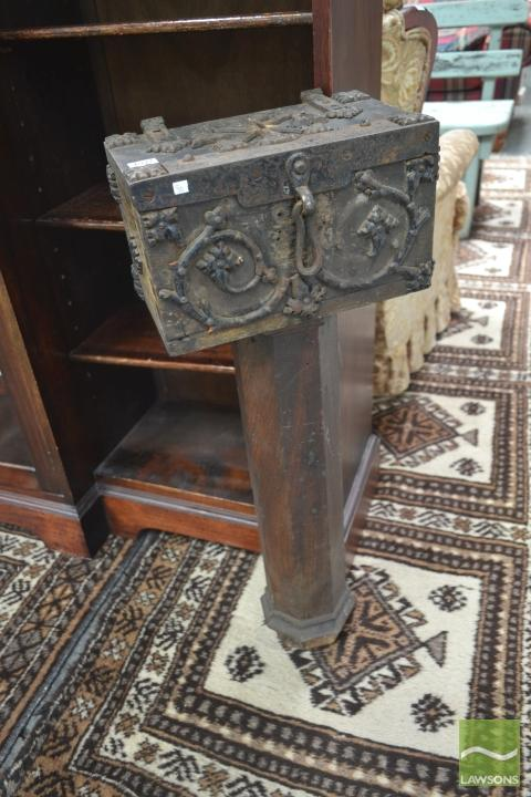 Rare 19th Century Oak Church Alms Box on Stand, in the Gothic style with iron mounts (some losses) with XP monogram.