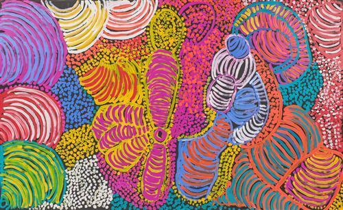 Eileen Yaritja Stevens (c1919 - 2008) - Wati Kutjara, 2007 124 x 203cm (framed & ready to hang)