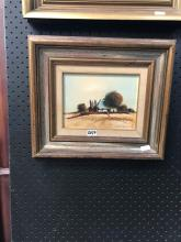 "Eris Fleming, ""Farmstead"" oil on board, 31 x 36.5cm, signed lower right"