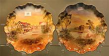 Royal Doulton Pair of Shakespeare Country Hand Painted Plates
