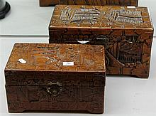 2 Chinese Carved Camphor Wood Boxes with Contents