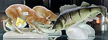 2 Large Royal Dux Figures Trout and Deer