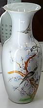 Large Chinese Vase Painted with Birds and Blossoms