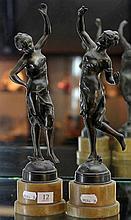 Pair of Art Nouveau Spelter Figures on Alabaster Base