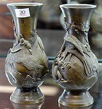 Pair of Japanese Bronze Vases