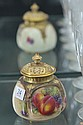 Royal Worcester Pot Purri Painted with Fruit, Signed Freeman (Damage to Finial)