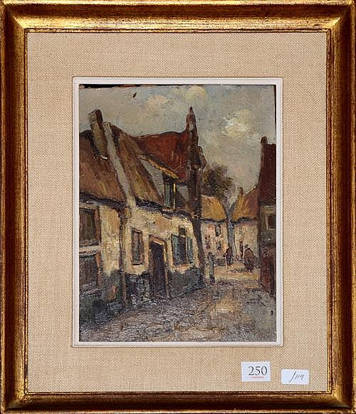 Joh P? European Village Scene oil on board 23 x 17cm