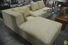 Fabric Lounge with Two Oversized Ottomans