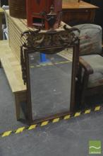 Timber And Gilt Framed Mirror Decorated With Amphora To top