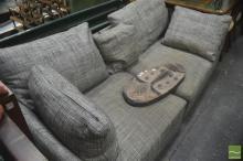 Italian Minotti(?) Fabric 2 Piece Lounge Marked to Base