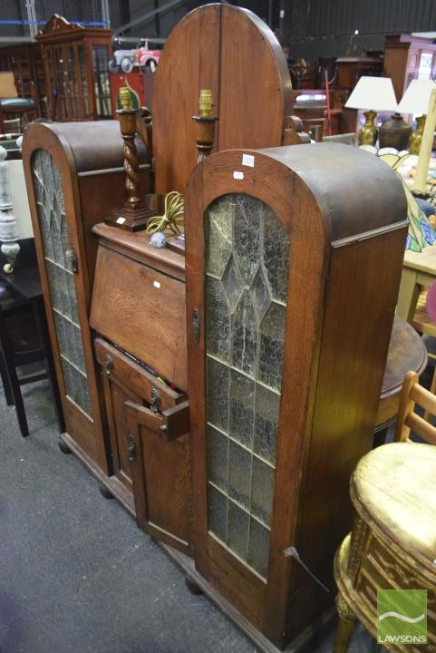 Display Cabinet W Drop Front Arched Leadlight Doors