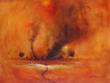 Eris Fleming (1943 - ) - Rural Red 55 x 71.5cm
