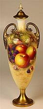 Royal Worcester Covered Vase Painted with Fruit by Harry Ayrton