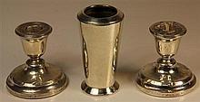 English Hallmarked Sterling Silver Pair of Candlesticks & a Vase