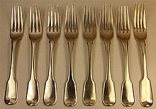 English Hallmarked Sterling Silver Set of Six Forks & Two Others
