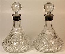 English Hallmarked Sterling Silver Necked Cut Crystal Decanters