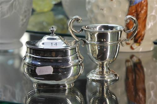 English Hallmarked Sterling Silver Trophy Cup & Hinged Pot (Weight - 213g)